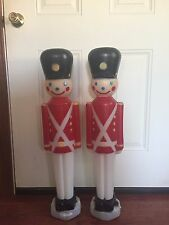 "2 Vintage CHRISTMAS TOY SOLDIER EMPIRE Plastic BLOW MOLD 31"" TALL Yard Ornament"