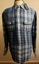 Polo Ralph Lauren Men Indigo dyed linen plaid popover rugby shirt L THESPOT917