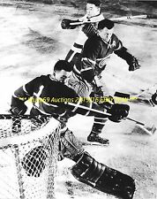 JACQUES PLANTE In NET Big SAVE 8x10 Photo MONTREAL CANADIENS HOF Goalie GREAT