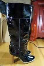 FORNARINA BLACK Patent Leather High Boot Womens sz 40 or 9 M