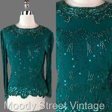 Vtg 80s Oleg Cassini M Beaded Top Green Sequin Glam Shiny Party Shirt Blouse