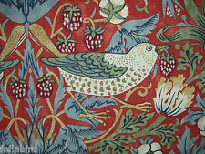 "WILLIAM MORRIS CURTAIN FABRIC ""Strawberry Thief"" 1.3 METRES CRIMSON/SLATE"