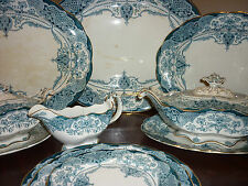 Antique LARGE JHW & Sons Hanley Welbeck Blue & White Dinner Service serves up 20