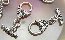 2 Bali Sterling Silver Flower Toggle Clasps <#873>