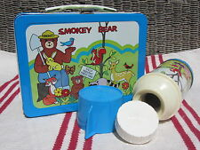 VINTAGE METAL SMOKEY THE BEAR LUNCHBOX & THERMOS -NICEST EXAMPLE ON PLANET EARTH