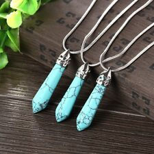 18K White Gold GP Natural Turquoise Healing Crystal Lucky Pendant Charm Necklace