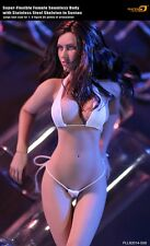 1/6 Phicen seamless brown hair tan skin busty female action figure white bikini