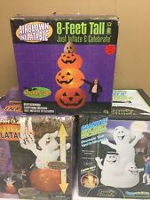 Lot Of 3 8 FT TALL AIRBLOWN INFLATABLEs Goofy GHOSTS Pumpkins