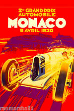 1930 2nd Monaco Grand Prix Automobile Race Car Advertisement Vintage Poster