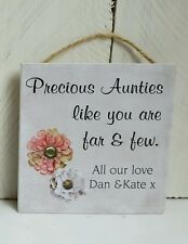 Personalised gift for an auntie aunty, small presents with quotes, handmade plaq
