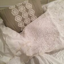 SHABBY QUEEN SIZE SIMPLY CHIC IVORY EMBROIDERED QUILT SHAMS CROCHET THROW PILLOW