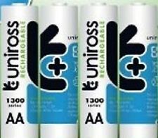 4 x AA UNiROSS 1300 SERIES RECHARGEABLE BATTS in FREE BATTERY CASE