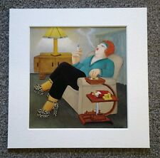 "BERYL COOK""SMOKERS DELIGHT"" MOUNTED CARD 8 X 8 FUNNY"