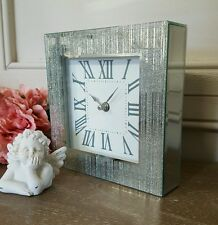 Shabby Chic New large 20cm Silver Glitter Bling Contemporary Clock