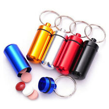 5x Mini Aluminum Pill Box Case Drug Bottle Holder Container Keychain Waterproof