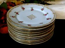 LIMOGES T&V FRANCE Signed HP 22K Gold Luncheon/Salad Plate Set of 10  100 Yrs