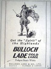 Rare 1925 BULLOCH LADE Gold Label Scotch Whisky Print ADVERT - Small Vintage Ad