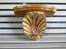 Elegant Vintage Wooden Shell Shelf, Art Nouveau Style, Heavy and Solid