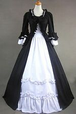Black & White Long Sleeve Cotton Gothic Lolita Dress Cosplay Party Costume