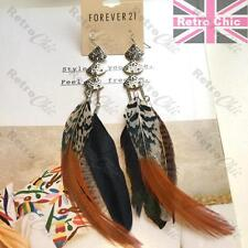 18cm long FEATHER EARRINGS black/natural/brown FEATHERS silver tone F21 bird