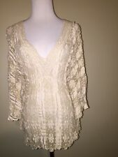 SOLITAIRE Women's TAN Beige Lace Dressy Poncho Top Shirt Size SMALL ethankeith1