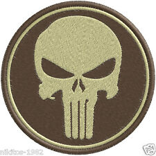 Patch (chevron) Thermo with a skull of the Chastener sand 9х9cm brown background