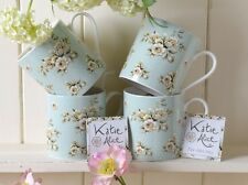Set of 4 KATIE ALICE Cottage Flower GREEN FLORAL Shabby Chic MUGS Vintage Style