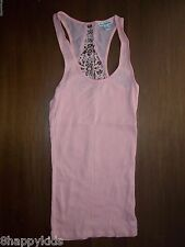 NEW American Eagle Womens Crochet Insert Ribbed Tank Top Pink Extra Small XS