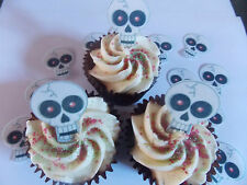 15 PRECUT Edible Halloween Skulls wafer/rice paper cake/cupcake toppers