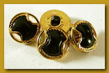 6 BOUTONS noir & Doré * 17,5 mm 1,75 cm  pied queue * button black gilt sewing