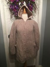 Women's INIS Crafts Merino Wool Hooded Cardigan Sweater Med