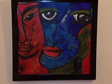 ORIGINALE astratto dipinto ad olio IL BACIO KLIMT Ish Rosso Blu FACCE AMORE Emozioni In buonissima condizione
