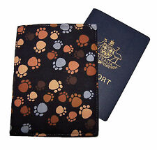 PASSPORT COVER/FOLDER/WALLET - DOG PAWS BROWN crafted by Graggie Australia*GA