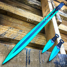 "28"" GREEN NINJA SWORD Full Tang Machete Tactical Blade Katana Throwing Knife"