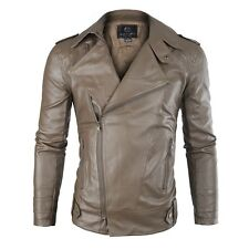 Mens Fashion Slim Fit PU Leather Jacket Bike Motorcycle Coat Zip Up Outwear Tops