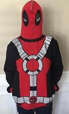 Marvel Deadpool Costume Hoodie Full-Zip Mask Adult Size S GUC