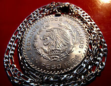 "1957-1967 Mexican Silver Eagle Peso Pendant on a 30"" 925 Sterling Silver Chain"