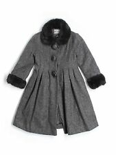 Girl Rothschild Gray Black Wool Faux Fur Holiday Winter Church Dress Coat Size 5