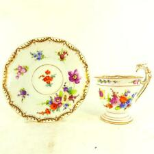ANTIQUE PORCELAIN CUP & SAUCER DRESDEN SPRAYS HAND PAINTED WONDERFUL HANDLE