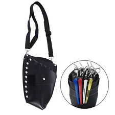 PU Leather Barber Scissor Hairdressing Holster Pouch Holder Case Rivet Clips Bag