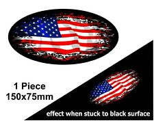 Oval FADE TO BLACK American Stars & Stripes Flag vinyl car sticker Decal 150mm