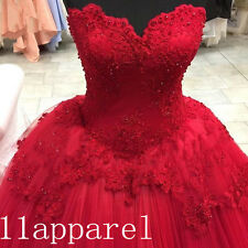 Ball Gown Red Beading Applique Prom Dress Tulle Quinceanera Pageant Bridal Gown