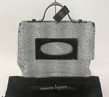 Nanette Lepore Black White Snake Embossed Leather Convertible Purse (B57)