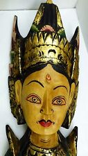 "Vintage Balinese Hand Carved & Painted ""Dewi Sri"" Goddess Wall Hanging Sculpture"
