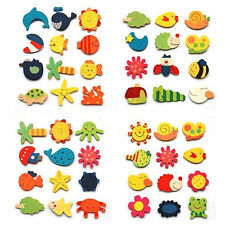 Baby Kid Wooden Magnet Educational Toy Kitchen Fridge Cartoon Funny Gift 12Pcs