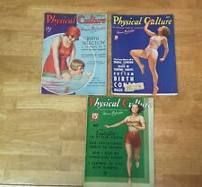 Trio of 1930's PHYSICAL CULTURE Magazine Mind Body Soul Beauty Charm Personality
