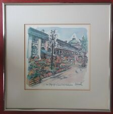 R. Edward Kennedy Vtg Watercolor Print View of Lily's Cafe Faneuil Hall Boston