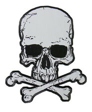 Skull and Crossbones REFLECTIVE EMBROIDERED 4 INCH IRON ON MC BIKER  PATCH