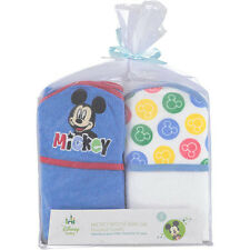 2-PACK Disney Baby Icon Mickey Mouse Baby Bath Hooded Towels Gift Set - Blue NEW