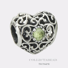 Authentic Pandora Sterling Silver August Signature Heart Peridot Bead 791784PE